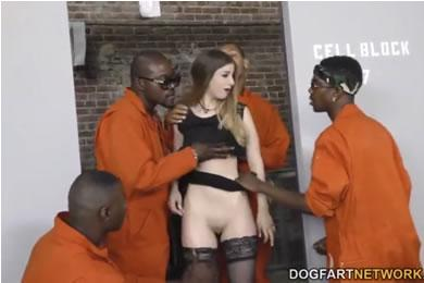 Interracial gangbang sex - Stella Cox